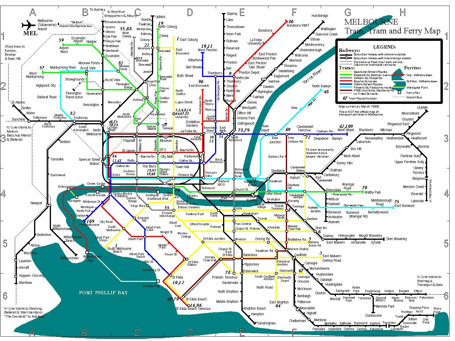 Melbourne Bus Map Bus routes Melbourne map   Melbourne bus map (Australia)