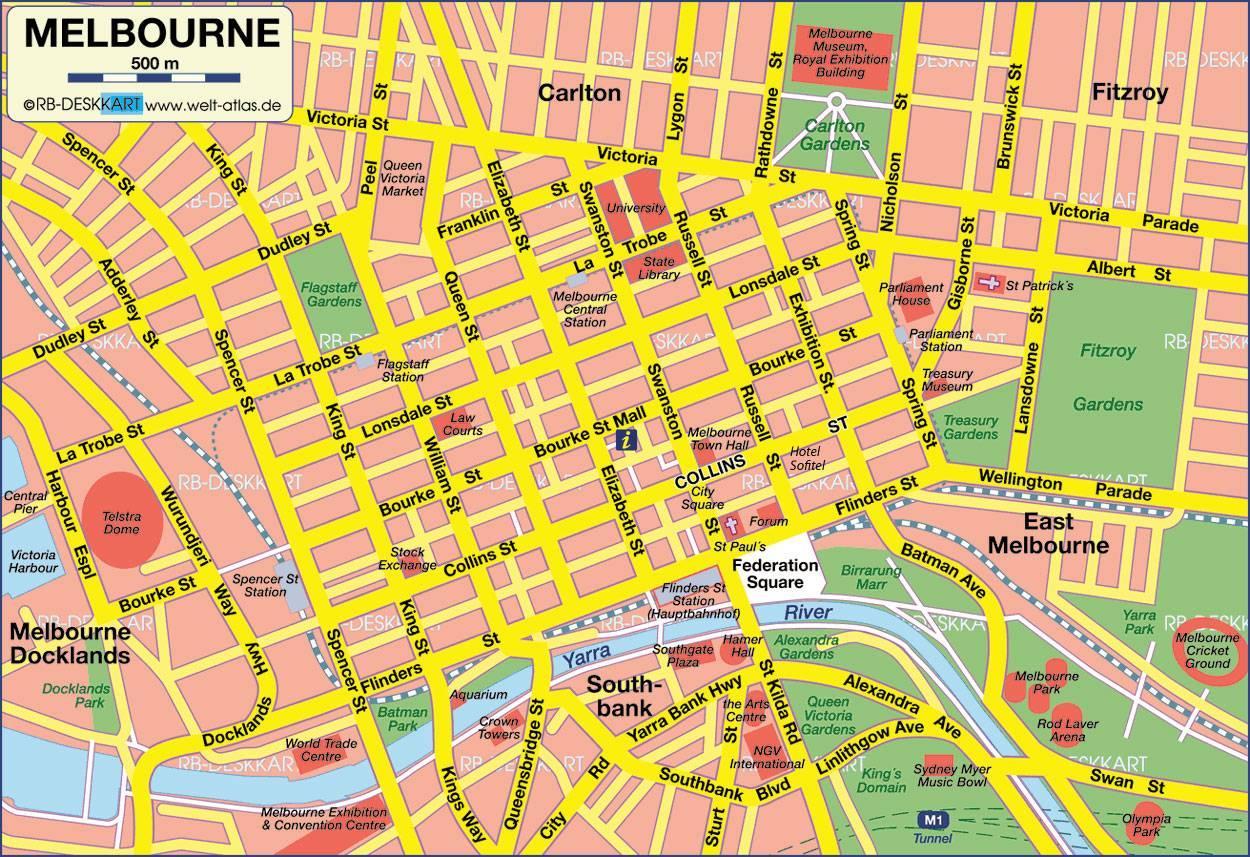 Melbourne Australia City Map.Map Of Melbourne City Map Melbourne Australia