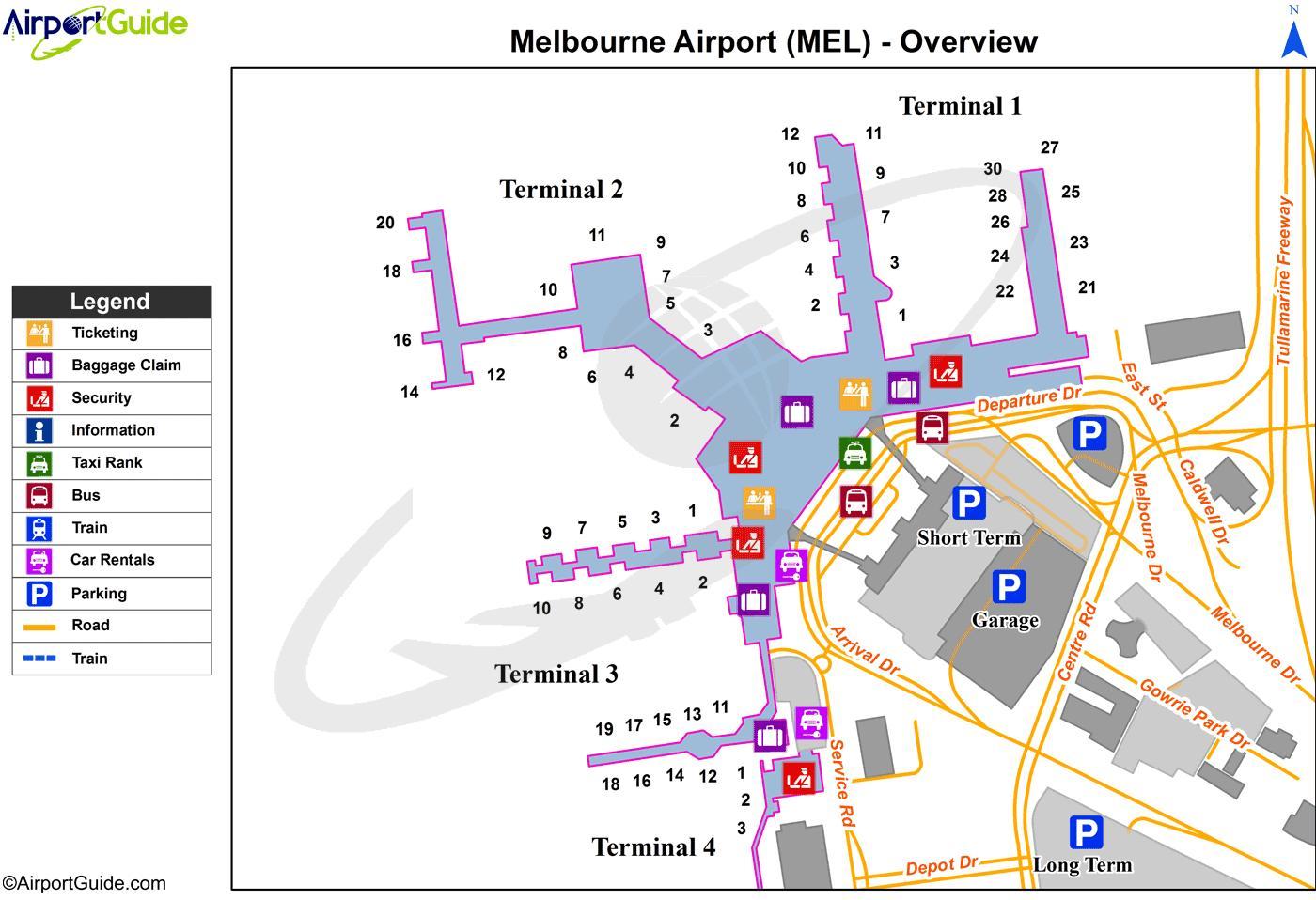 Melbourne Airport Arrivals Map Melbourne airport terminal map   Map of Melbourne airport