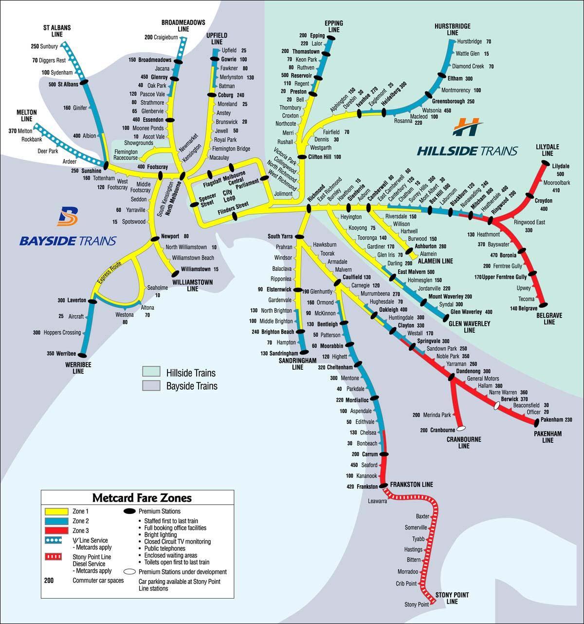 Australia Map Melbourne.Melbourne Rail Map Rail Map Melbourne Australia