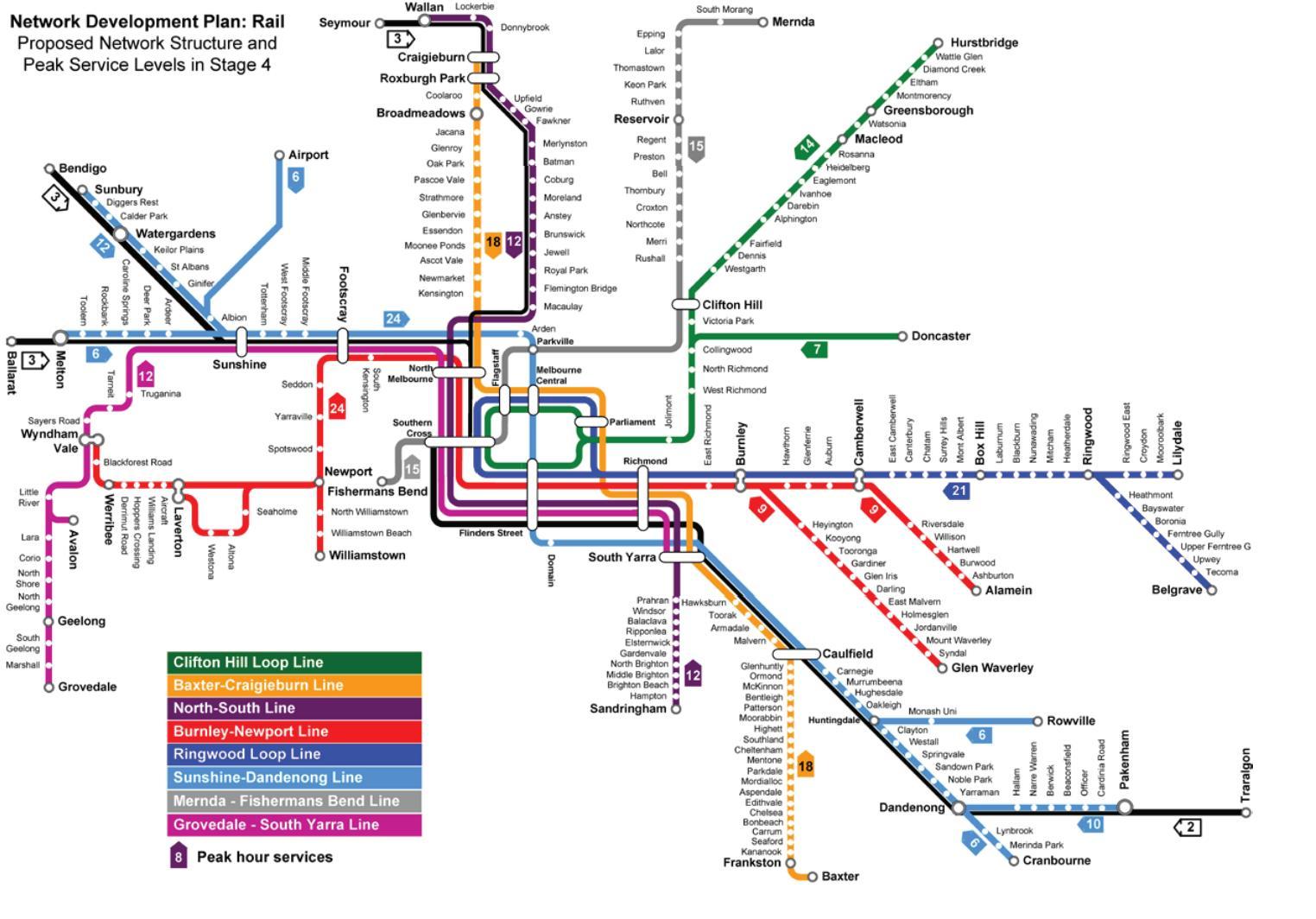 Melbourne Australia Train Map.Ptv Train Map Train Station Map Melbourne Australia