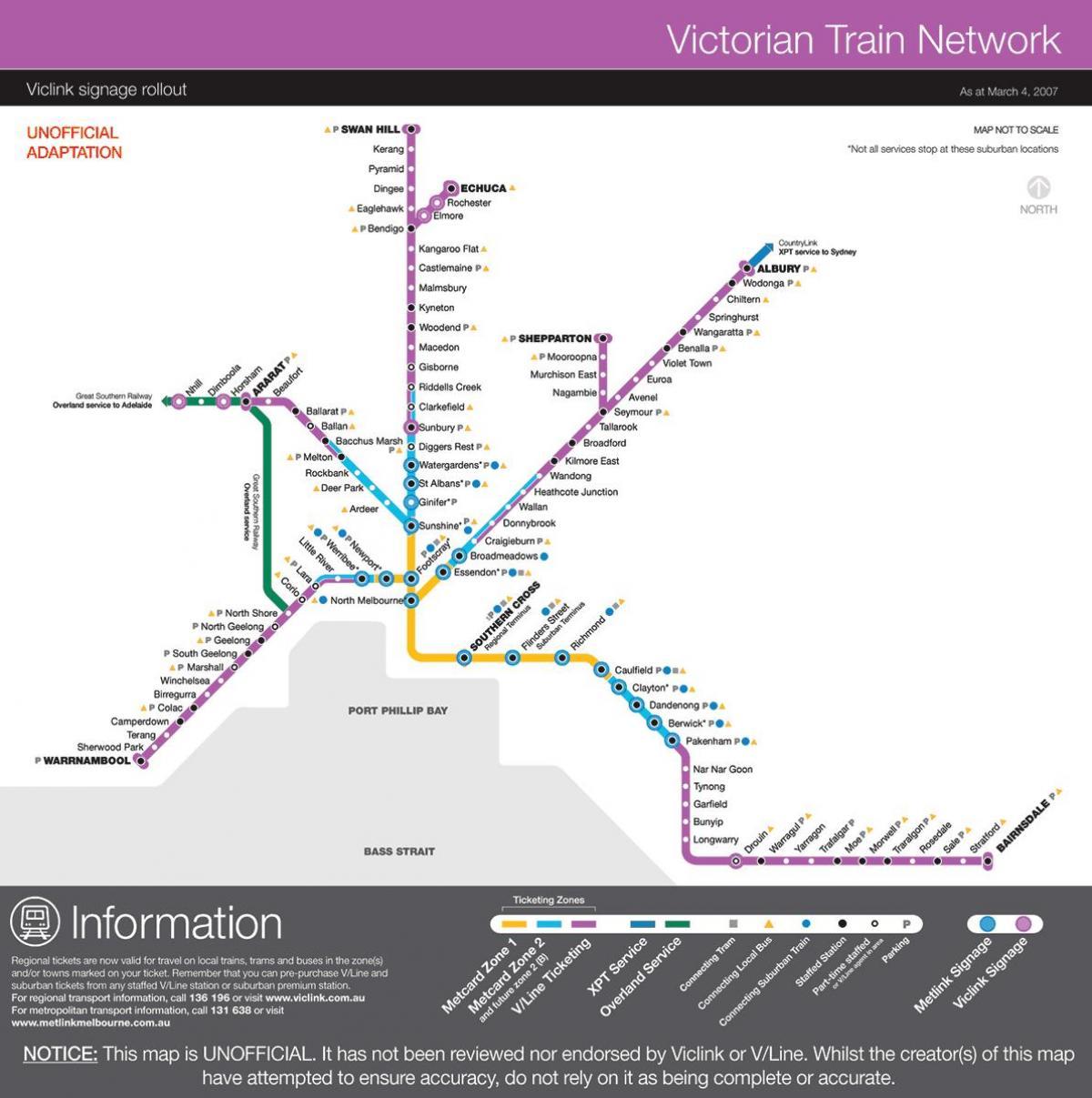 V line map - Vline map (Australia) Map V on